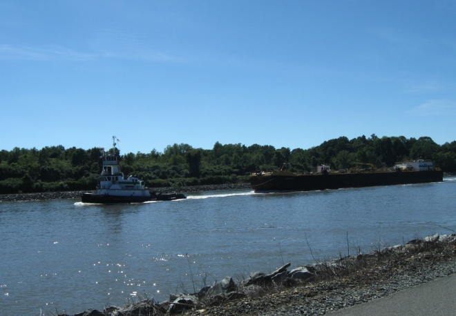 Tugboat and barge on the C&D Canal (by Cathy Schwarz)
