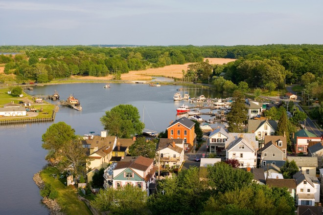Aerial view, Chesapeake City Md (by Kevin Quinlan, Chesapeake City MD Chamber of Commerce)