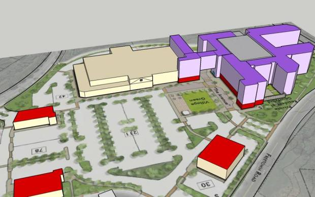 3D Sketch of Kimco proposal for Hickory Ridge Village Center Redevelopment