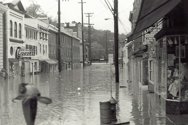 Flooded Main Street Ellicott City from Agnes. (Photo by Mike Hartley)