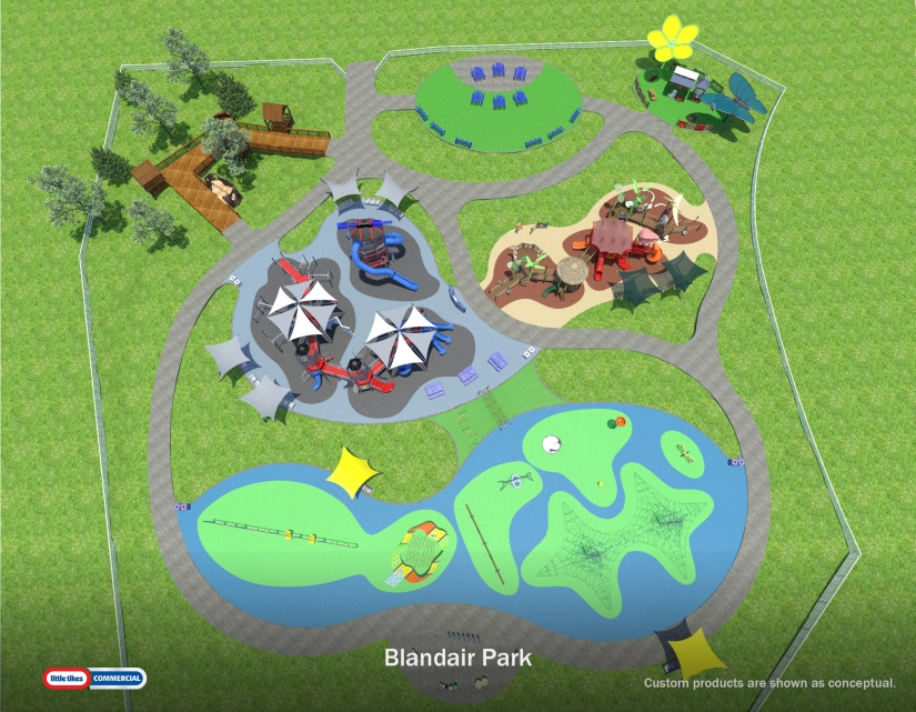 Playgrounds for all ages at Blandair Regional Park,Columbia